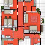 Red Apartment Plan